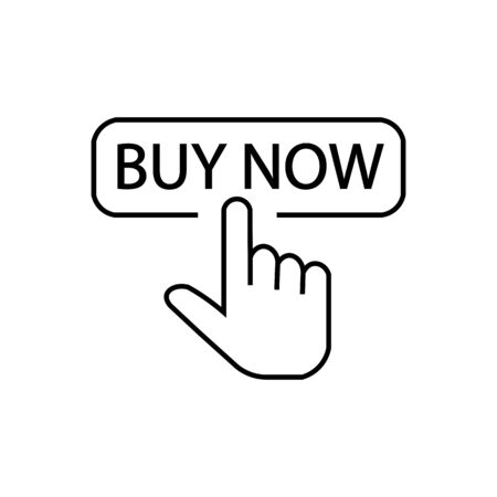 Icon of finger clicking on the inscription buy now. 向量圖像
