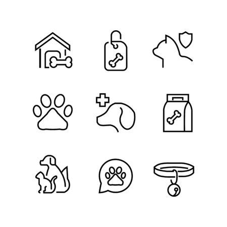 Set of icons for pet shop. Vektoros illusztráció