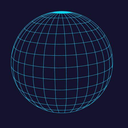 abstract wire frame sphere glowing. Ilustración de vector