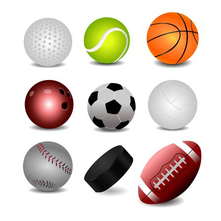 Set of realistic ball icons.