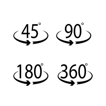 Set of icons spread 45 degrees, 90, 180 360 illustration