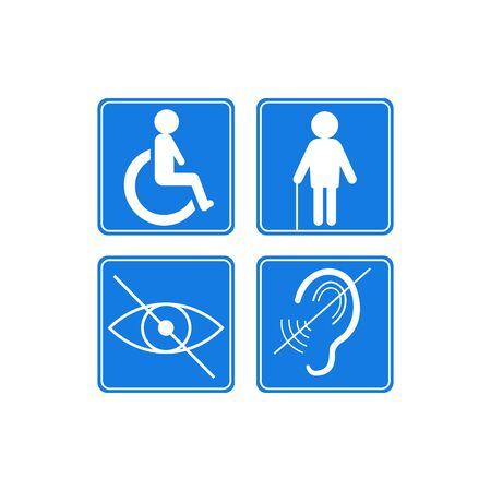 disabled signs deaf blind wheelchair icon.