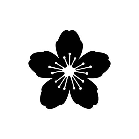 Flower black sign icon. Vector illustration eps 10.
