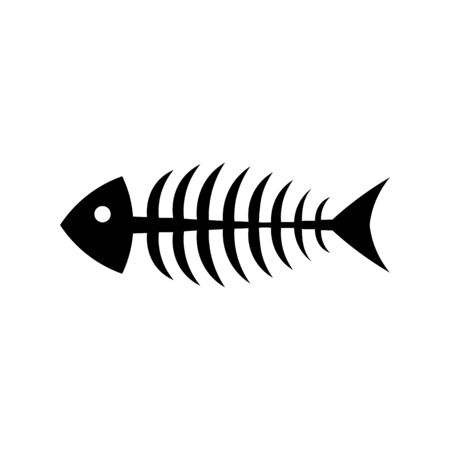 Skeleton fish black sign icon.
