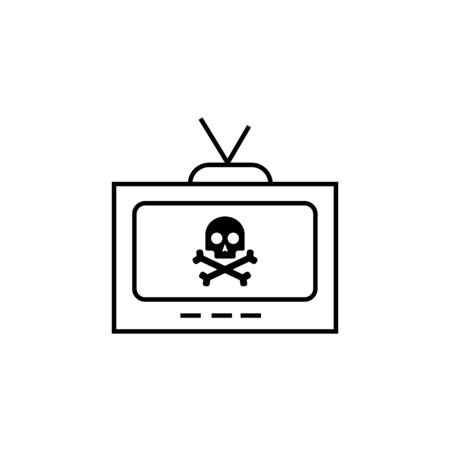 Black tv sign icon and skull and crossbones sign. Vector illustration eps 10.