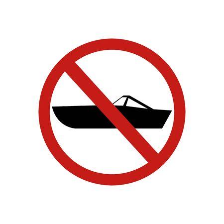 icon forbidden boat sign. Vector illustration eps 10.