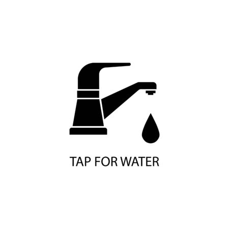Icon of black tap sign for water. Vector illustration eps 10.