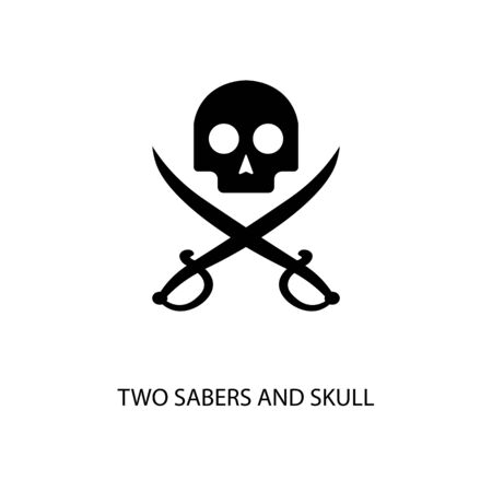 Icon black sign two sabers and skull. Vector illustration