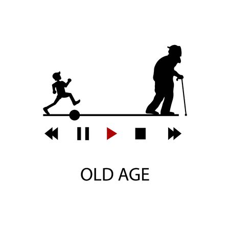 Icon black sign old age. Vector illustration