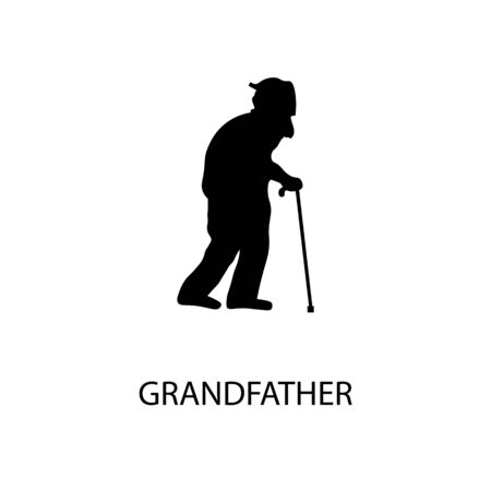 Grandfather black sign icon. Vector illustration
