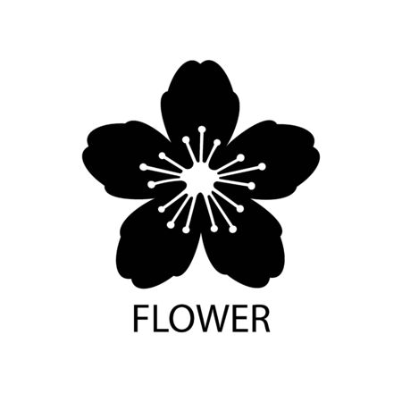 Flower black sign icon. Vector illustration