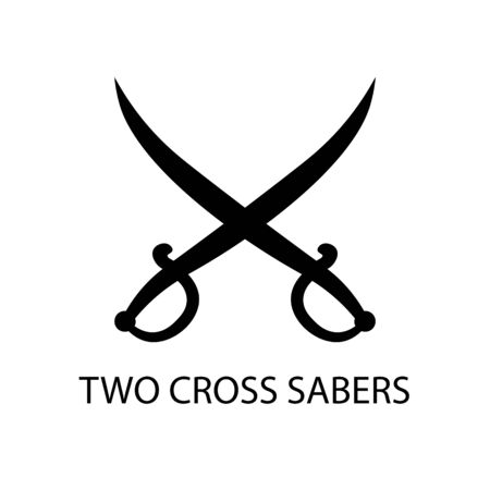 Two saber black sign icon. Vector illustration Çizim