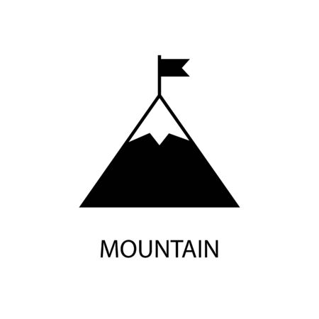 Icon black sign mountain and flag. Vector illustration Illustration
