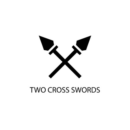Two swords black sign icon. Vector illustration