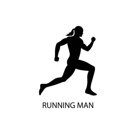 running man black sign icon. Vector illustration