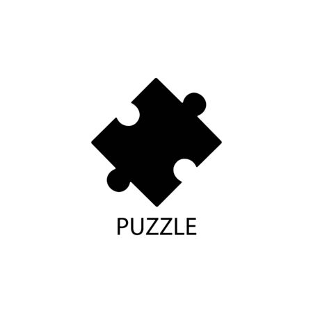 Puzzle black sign icon. Vector illustration