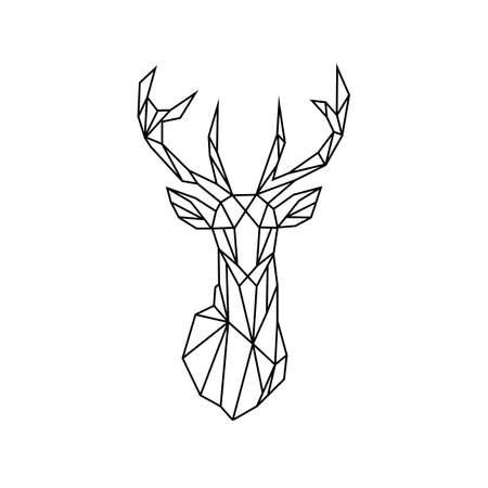 Black deer icon in vintage style. Vector illustration