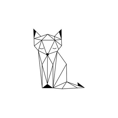 Black cat icon in vintage style. Vector illustration