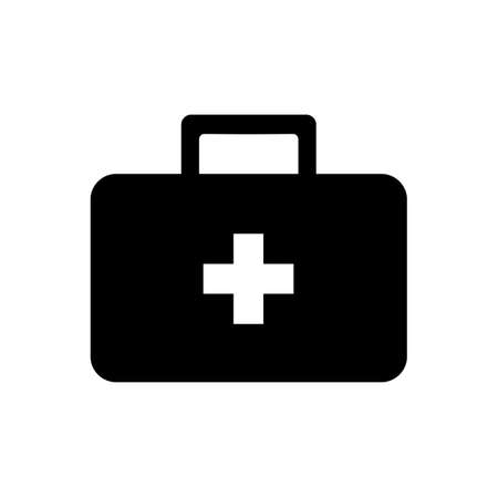 Suitcase icon with medicine sign. Vector illustration Ilustracja