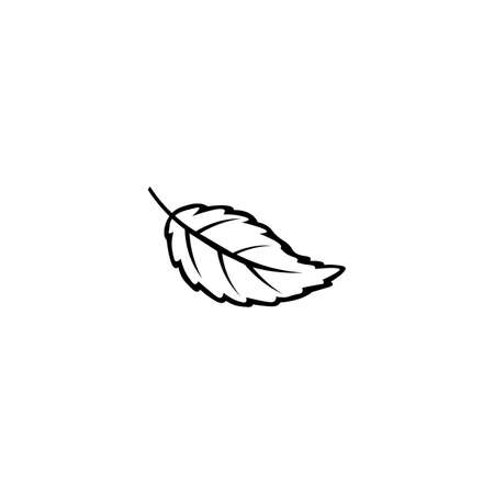 Leaf black sign icon. Vector illustration