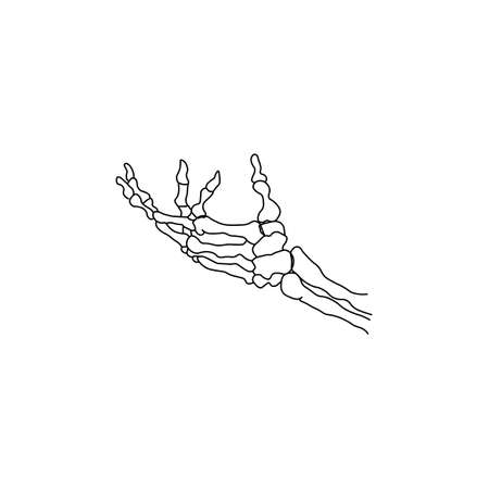 Skeleton hand sign black icon. Vector illustration