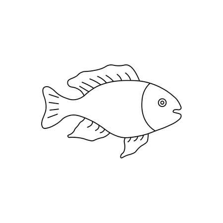 Black fish sign icon. Vector illustration