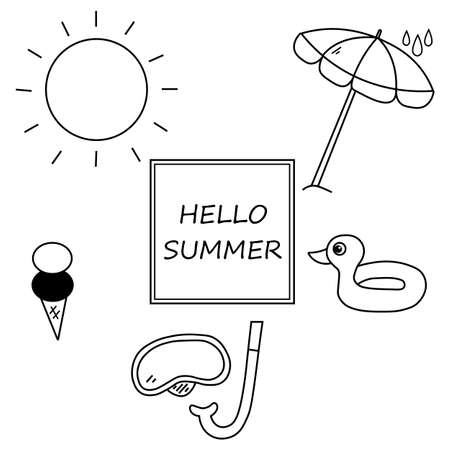 Set of black hello summer icons. Vector illustration eps 10.