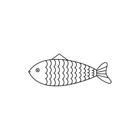 Black fish sign icon. Illustration
