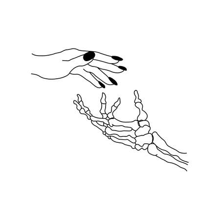 Skeleton hand and woman hand black icon.