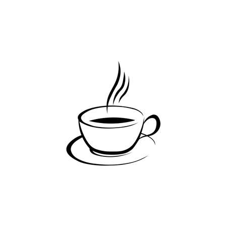 Cup of coffee black sign icon. Vector illustration eps 10.