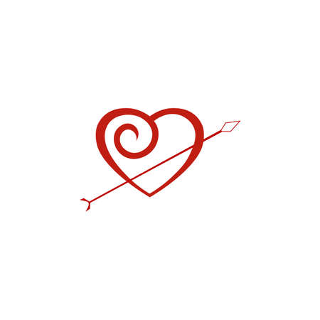 Realistic heart and arrow icon. Vector illustration eps 10.