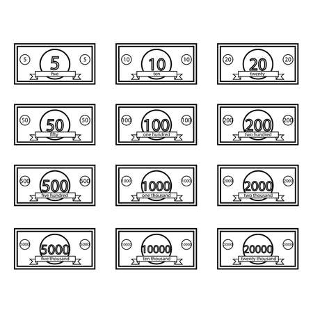 Set of game cash notes icons. Vector illustration