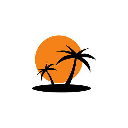 Colored icon of palm trees on the island, sunset.