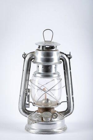 Silver kerosene lamp with wick isolated on white background.
