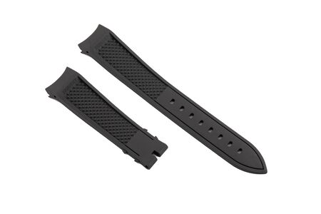 Black, rubber watchband isolated on white background. 免版税图像