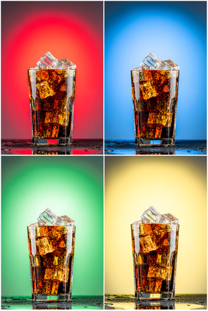 Glass with cola  and ice. collection of red, blue, green and yellow backgrounds