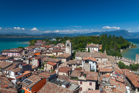 sirmione: Panoramic view from The Scaliger Castle at Sirmione town, Lake Garda- Italy