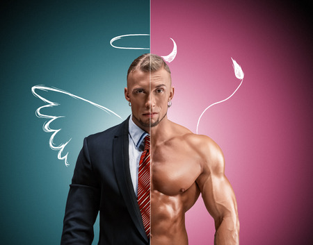 nude male body: Attractive man in a business suit and without it on a blue-pink background. concept of beauty and strength, and the contrast between day and night image of an angel and a devil