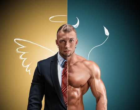 Attractive man in a business suit and without it on a yellow-blue background. concept of beauty and strength, and the contrast between day and night image of an angel and a devil