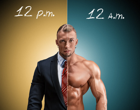 naked male body: Attractive man in a business suit and without it on a brown-blue background. concept of beauty and strength, and the contrast between day and night image of an angel and a devil Stock Photo