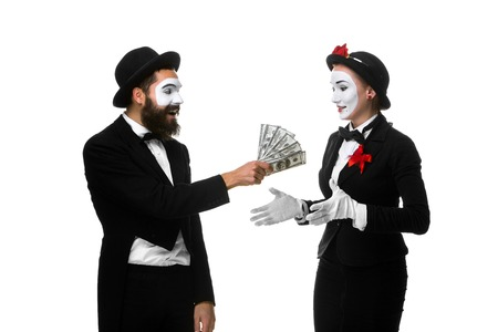 middle joint: memes as businesswoman and businessman counting money. Isolated on white.