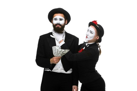smother: memes as businesswoman and businessman counting money. Isolated on white.