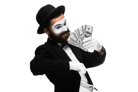 money pocket: Hombre con un mimo cara gritando de alegr�a con el dinero aislado en un fondo blanco. concepto de dinero concepto- en el bolsillo, dinero suerte
