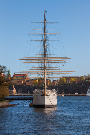 chapman: STOCKHOLM, SWEDEN - April 30, 2011: Sailing vessel Af Chapman (constructed in1888) on Skeppsholmen in Stockholm, Sweden