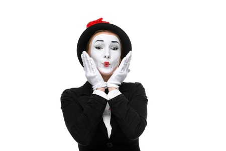 touched: Portrait of the surprised and touched woman as mime isolated on white background. Concept of touched