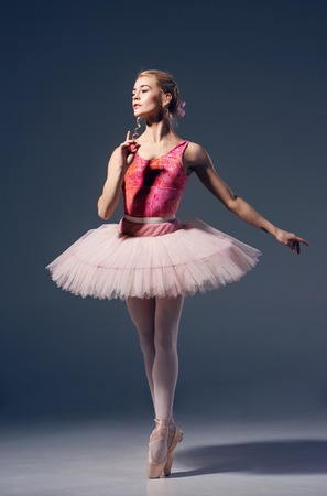 pointe shoes: Portrait of the ballerina in ballet pose on a grey background. Ballerina is wearing  pink tutu and pointe shoes