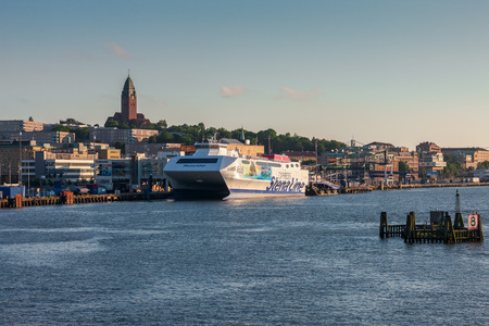 gothenburg: Gothenburg, Sweden - June 07, 2014: Ferry Stena Line in the harbor. Stena Line is a leading provider of European freight and transportation services Editorial