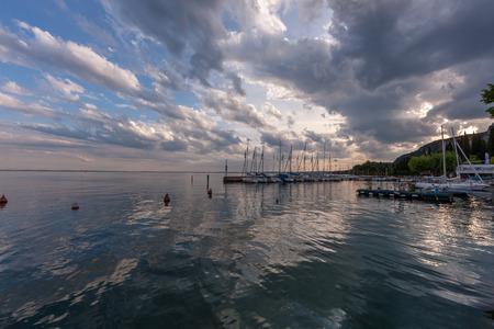 citrons: Panorama of the harbor, Lake Garda, Italy