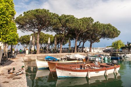 citrons: boats in the harbor, Lake Garda, Italy
