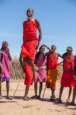 african warriors: MASAI MARA,KENYA, AFRICA- FEB 12: Masai warriors dancing traditional jumps as cultural ceremony,review of daily life of local people,near to Masai Mara National Park Reserve, Feb 12, 2010,Kenya